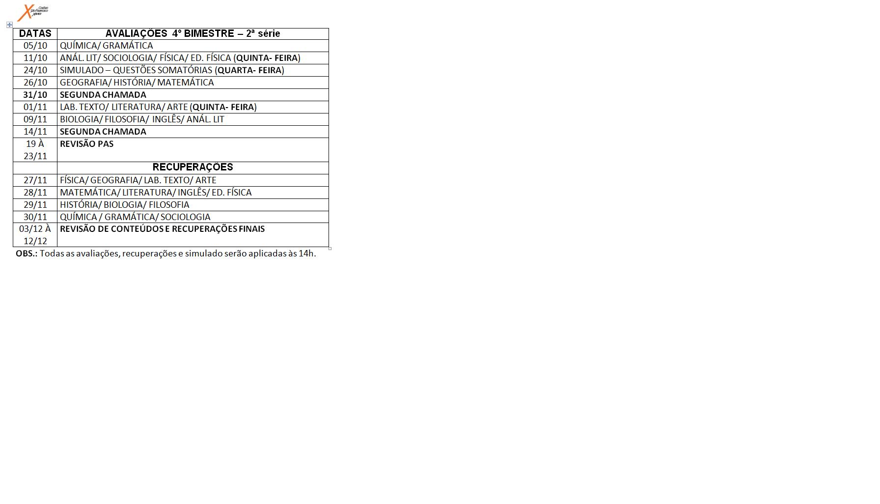 Calendário de provas da 2ª série do Ensino Médio