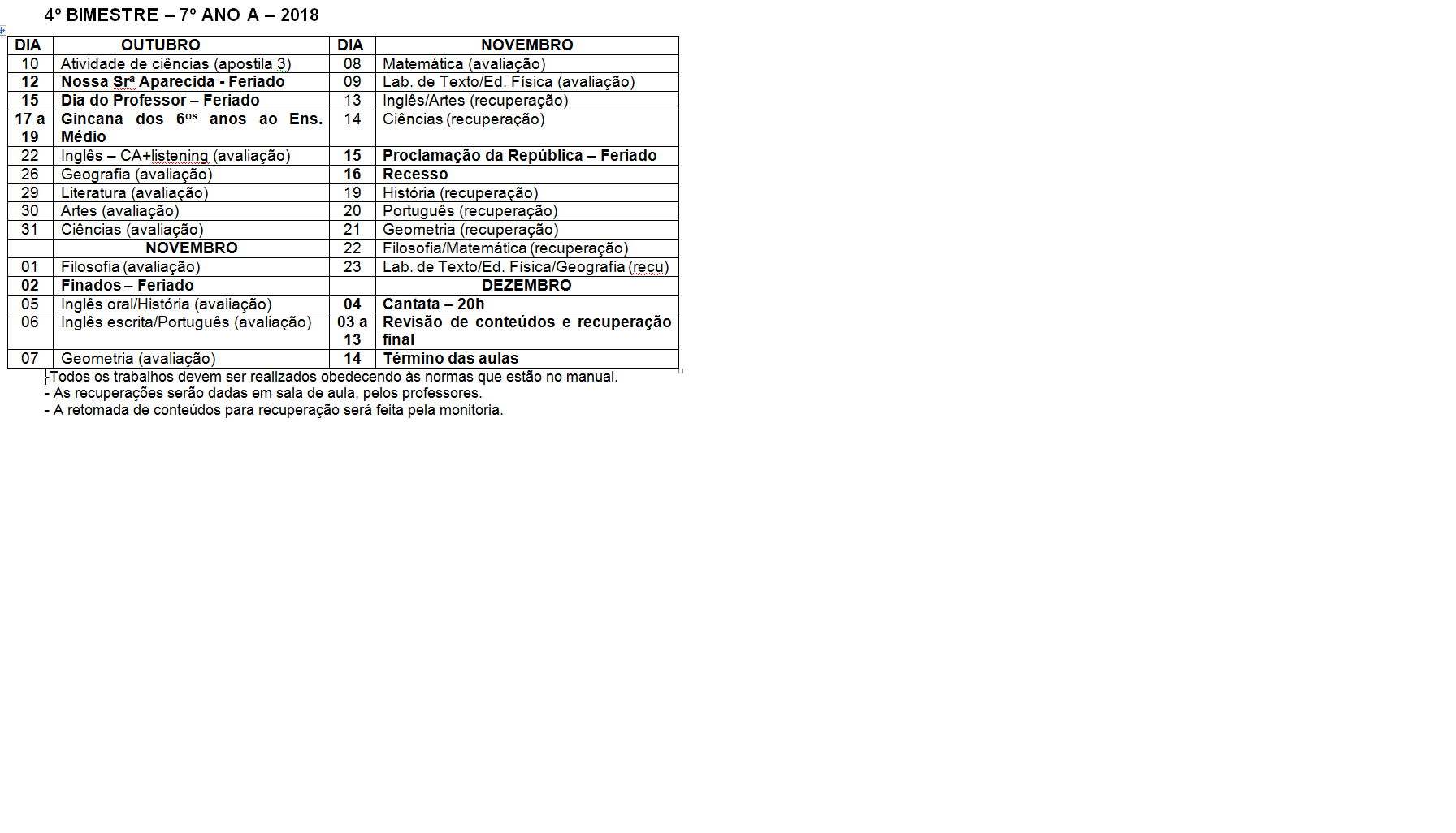 Calendário de provas do 7º A - Ensino Fundamental