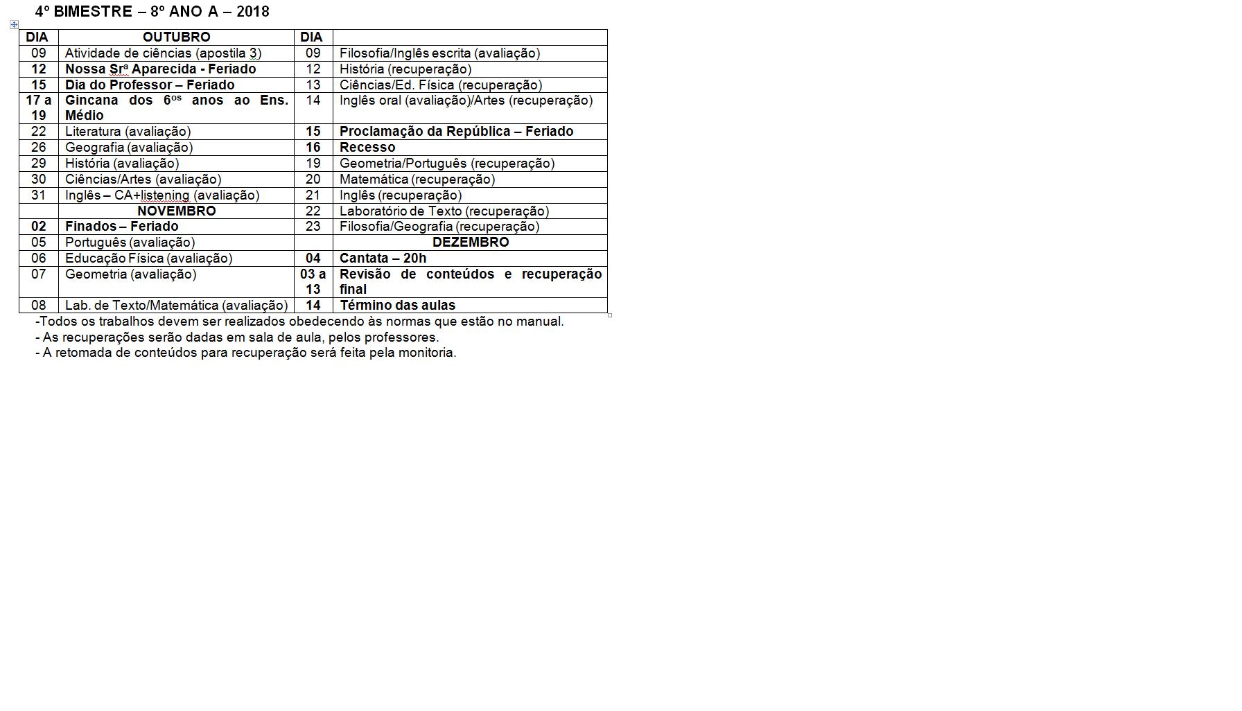 Calendário de provas do 8º A - Ensino Fundamental