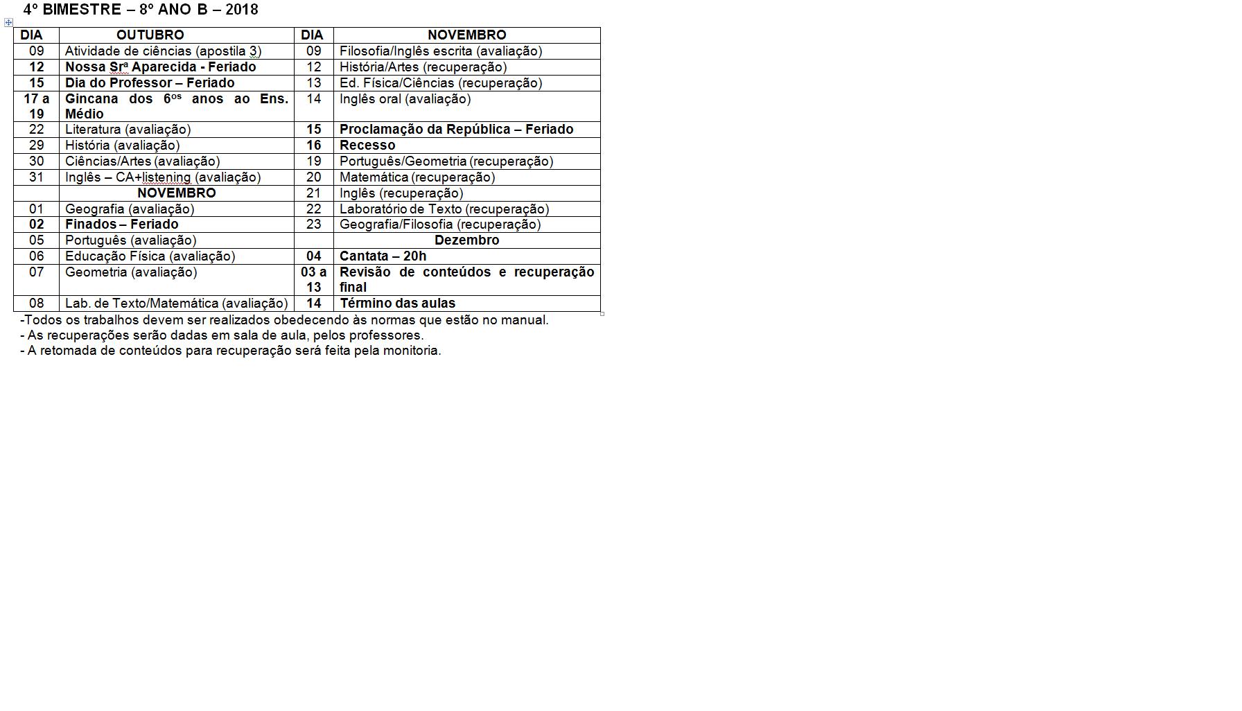 Calendário de provas do 8º B - Ensino Fundamental
