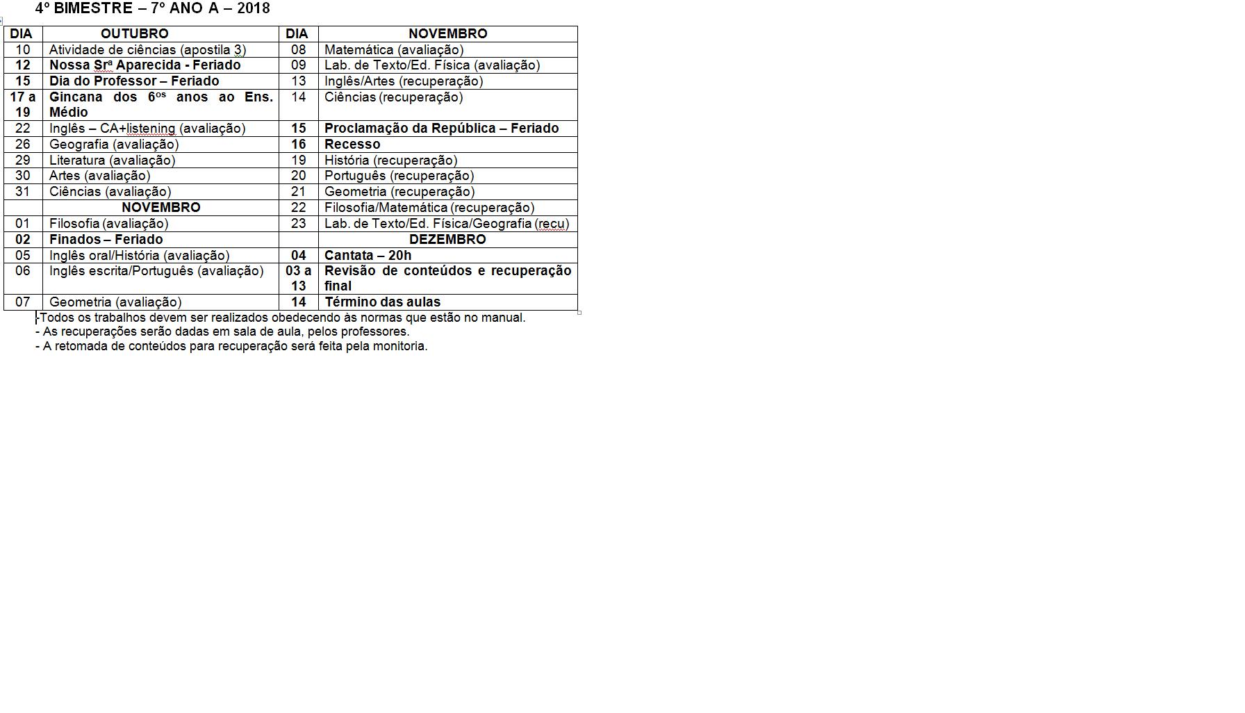 Calendário de provas do 7º B - Ensino Fundamental