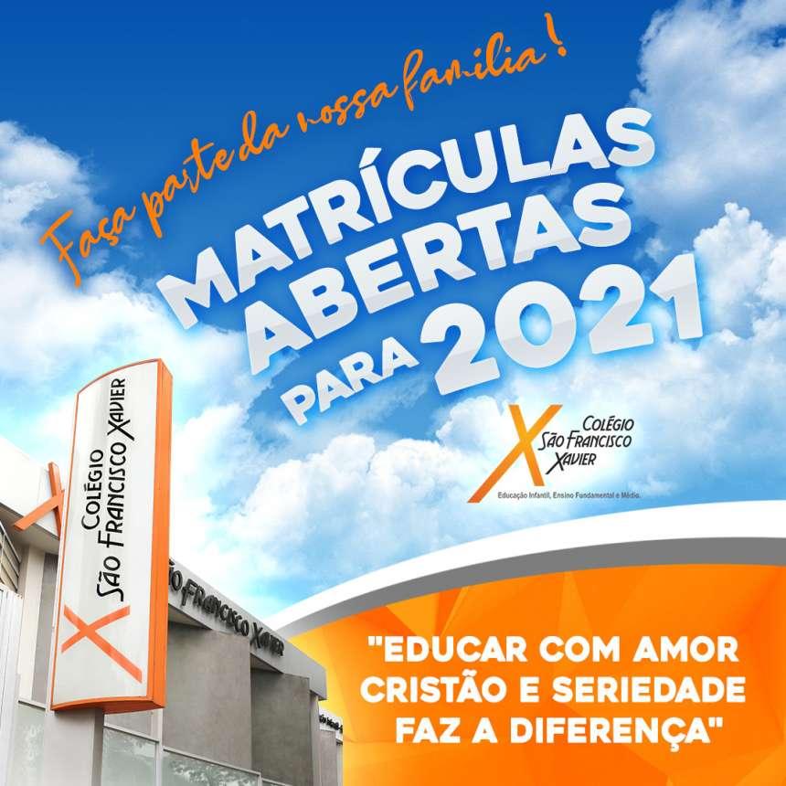 MATRÍCULAS ABERTAS PARA 2021!